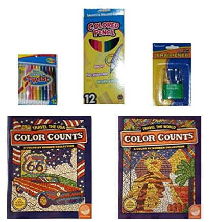 Amazon.com: MindWare Color Counts Travel/Travel the USA Coloring ...