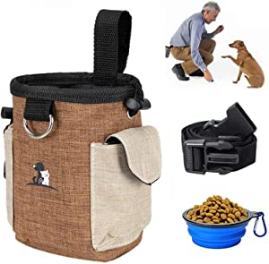 PHABULS Dog Treat Pouch for Training with Waist Belt and Collapsible Food Bowl for Doggy Walking or Playing