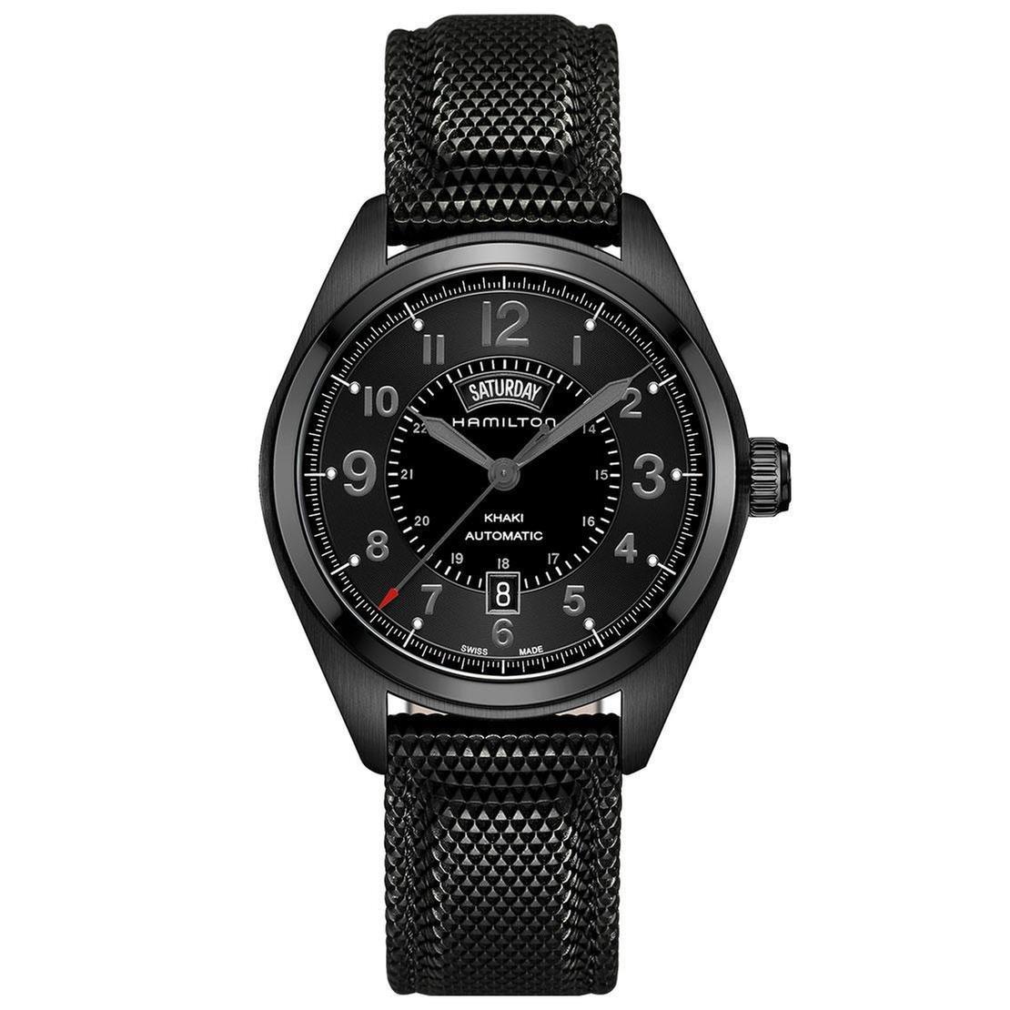 b78b1e34f Amazon.com: Hamilton Men's H70695735 Khaki Field Day Date Black Automatic  Watch: Watches