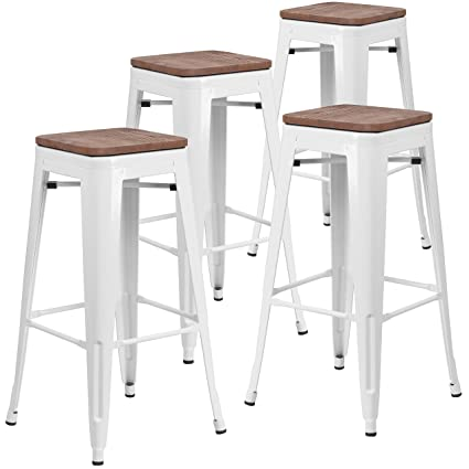 Surprising Taylor Logan 4 Pk 30 High Backless White Metal Barstool With Square Wood Seat Short Links Chair Design For Home Short Linksinfo