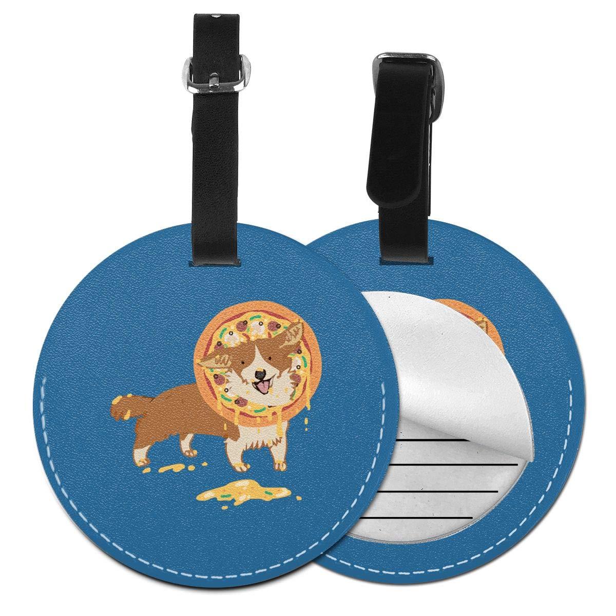 1pcs,2pcs,4pcs Pizza Corgi Pu Leather Double Sides Print Round Luggage Tag Mutilple Packs