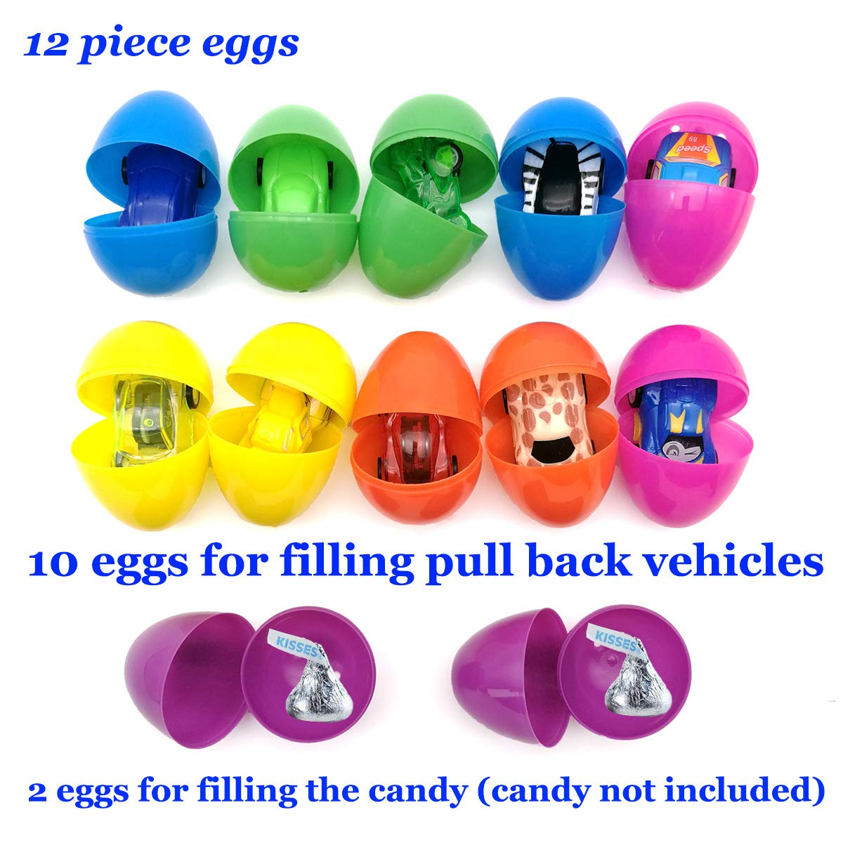 Disrerk Toy Filled Easter Eggs - Filled Pull Back Vehicles Bright Colorful 2.5\