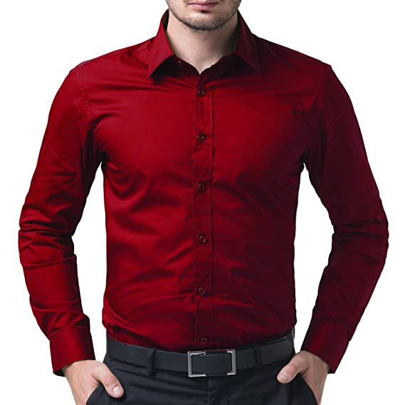 69e47f734e9d BEING FAB Men s Solid 100% Cotton Regular Fit Casual Red Shirt  Amazon.in   Clothing   Accessories