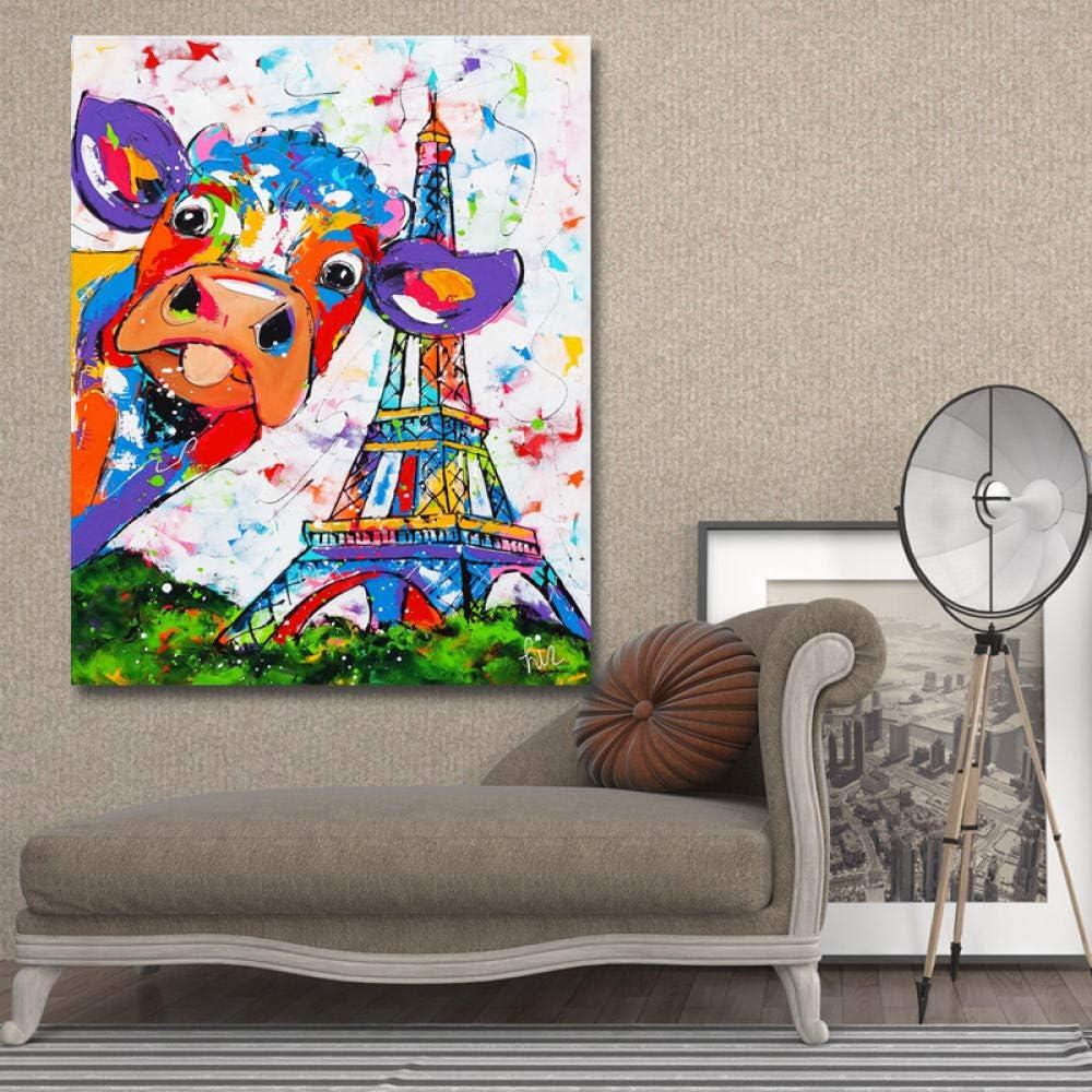Impressions Sur Toile Affiche Abstraite Color/é Vaches Et Tour Eiffel Photo Peinture Pour Salon D/écoration de La Maison Mur Art 75x100 cm No Frame