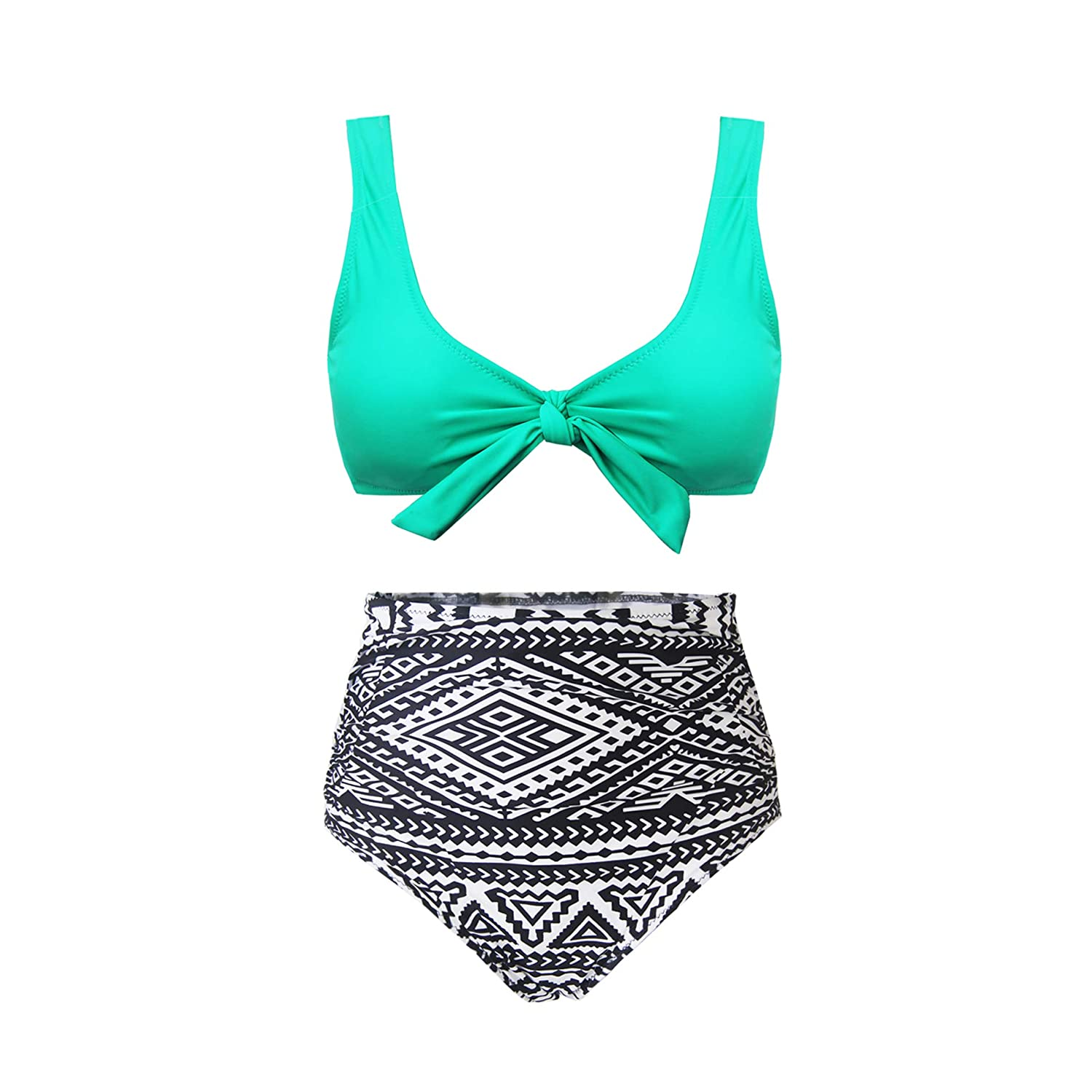f3a67c5ba5 Amazon.com: SS Queen Women High Waisted Padded Swimsuits Print Bowknot Swimwear  Two Pieces Bathing Suit: Clothing