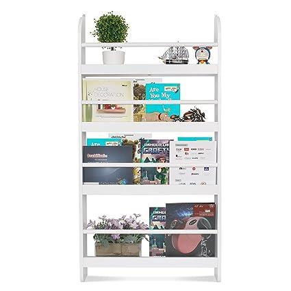 Homfa Estantería de pared de libros con 4 estantes para alimentos y adornos 60 x 12 x 115 cm Blanco