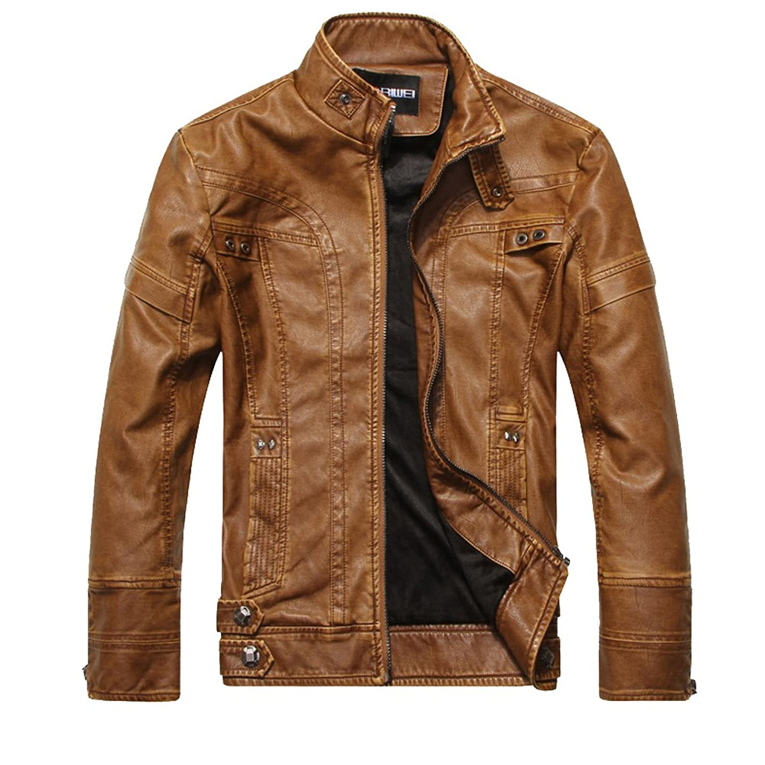 TEERFU Men's Vintage Stand Collar Pu Leather Coat Classic Motorcycle Jacket