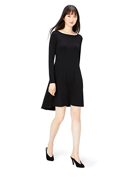 568c5a2961f4 Daily Ritual Women's Jersey Long-Sleeve Bateau-Neck Dress, Black, X-