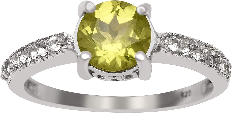 Shine Jewel 0.90 Ctw Round Cut Prong Set Peridot Gemstone Side Stone Half Eternity 925 Sterling Silver Wedding Ring