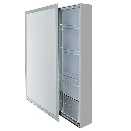 Ordinaire Bathroom Sliding Mirror Medicine Cabinet W Frosted Glass Border 18u0026quot; X  30u0026quot;u0026quot;