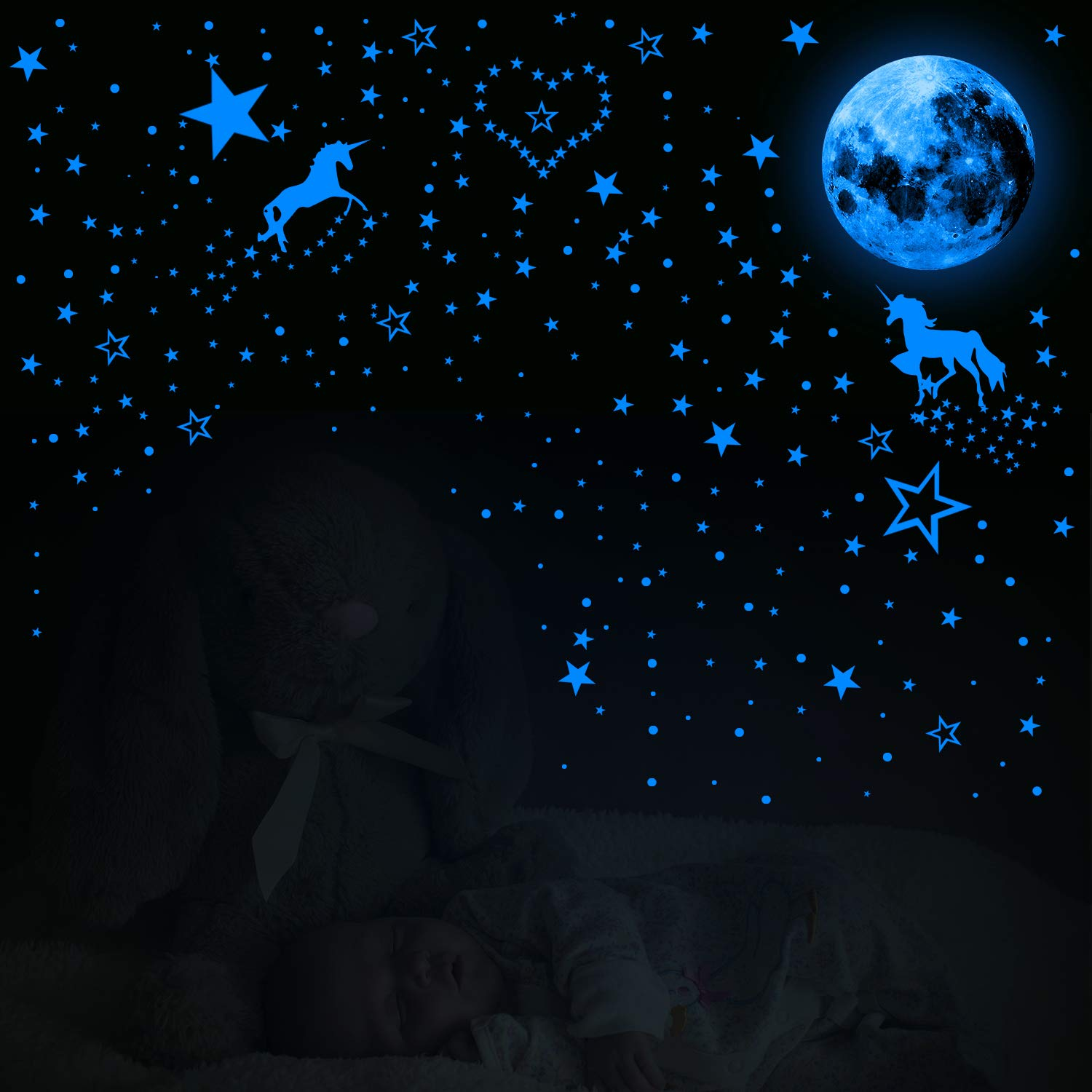 466 Pieces Glow in The Dark Unicorn Wall Decals with Luminous Star Moon Dot Stickers Fluorescent Ceiling Stickers for Kids Baby Room Decoration or Family Gatherings Fluorescent Blue