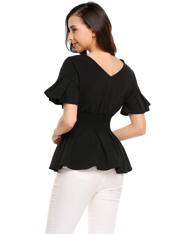 10a98a38778 Zeagoo Women s Ruffle Sleeve V-neck Smocked Elastic Empire Waist Peplum  Blouse Top Black Small at Amazon Women s Clothing store