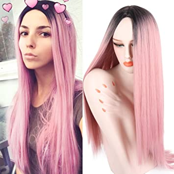 Amazon.com   CNicehair Ombre Pink Wigs Straight Long Length Wigs for Women  Middle Part Wigs Dark Roots Heat Resistant Synthetic Wigs   Beauty 78e65fdf31