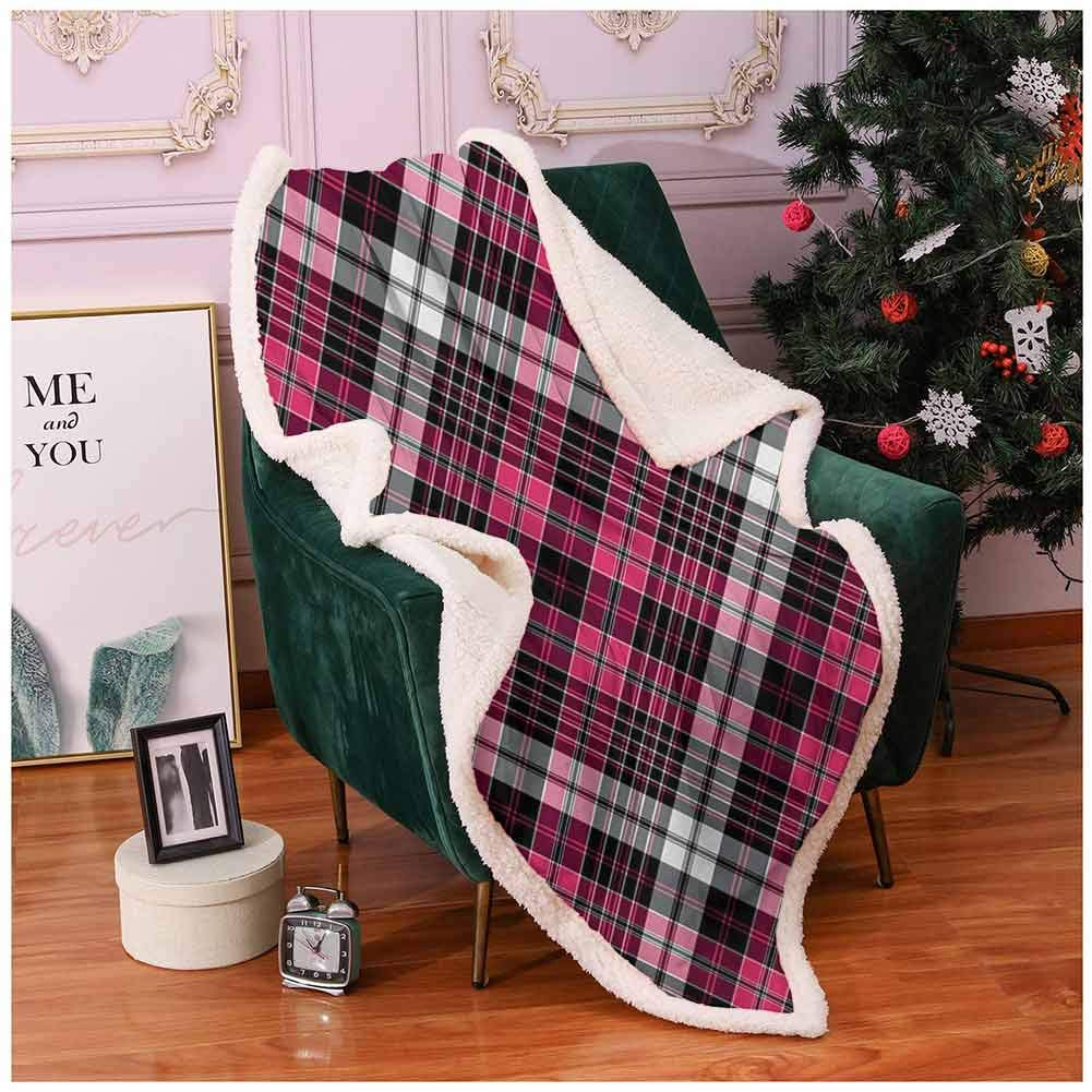 """Checkered Blankets Full Size Symmetrical Lines and Squares Geometric Old Tartan Inspired Design Print Winter Blanket Pink Black White 60""""x80"""""""