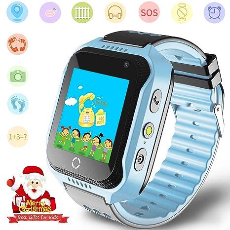 Niños Smartwatches GPS Tracker Mirar- Niño Niña telefono Reloj SOS Ayuda Cámara Reloj Despertador Podómetro