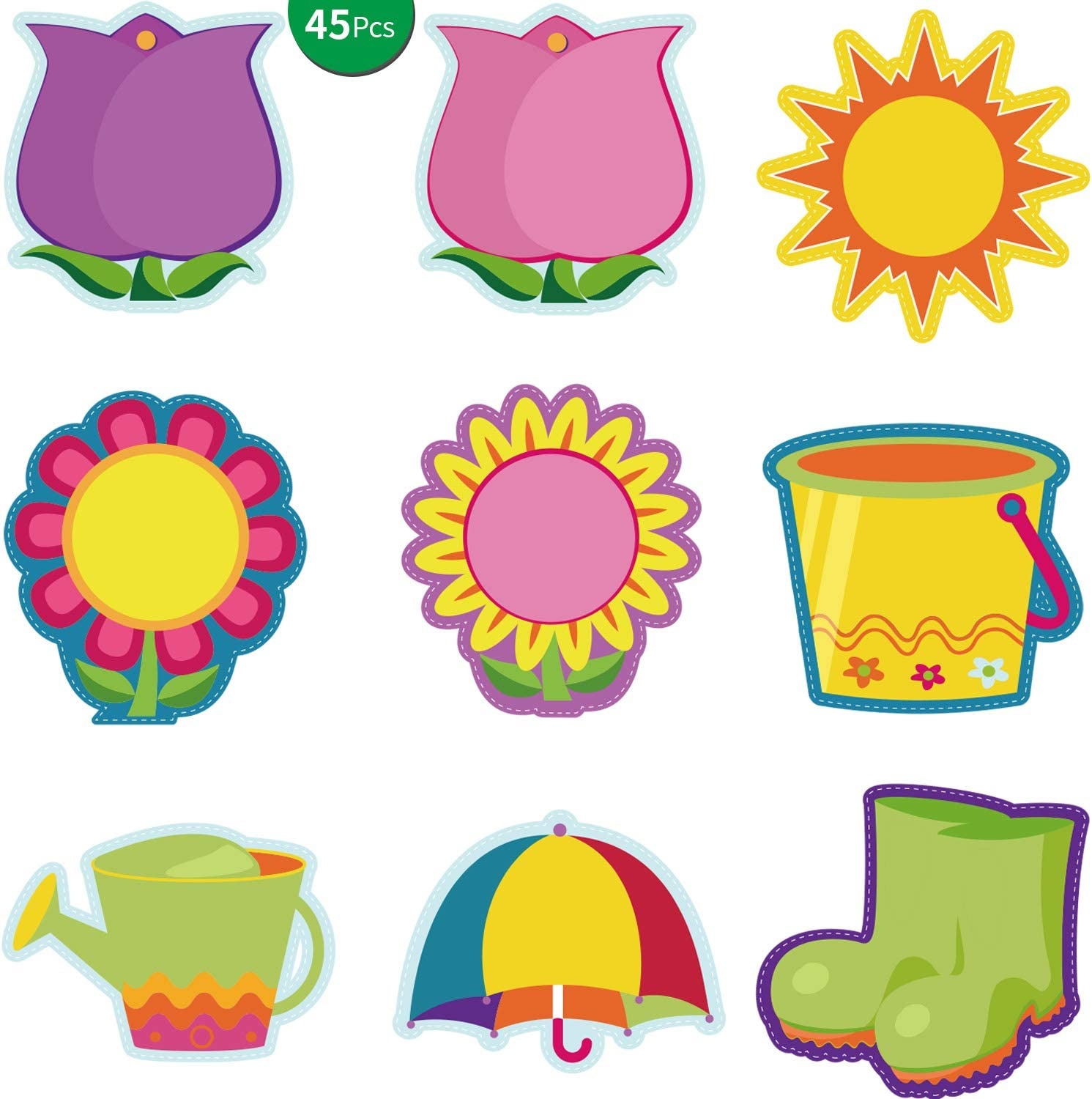 45 Pieces Colorful Spring Mix Cut Outs Classroom Decoration Spring Cutouts with Glue Point Dots for Bulletin Board Classroom School Spring Party Decorations, 5.9 x 5.9 Inch
