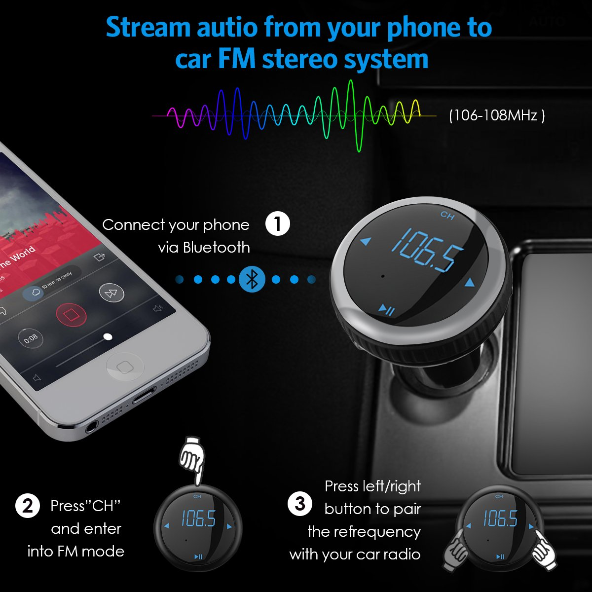 Criacr Bluetooth FM Transmitter, Car Charger with Smart Locator, 5V 2.1A USB Charging Port, Wireless In-Car Radio Adapter Car Kit, MP3 Player, Hands-free Call for iPhone, Samsung, Smartphone (Silver) by AMIR (Image #4)