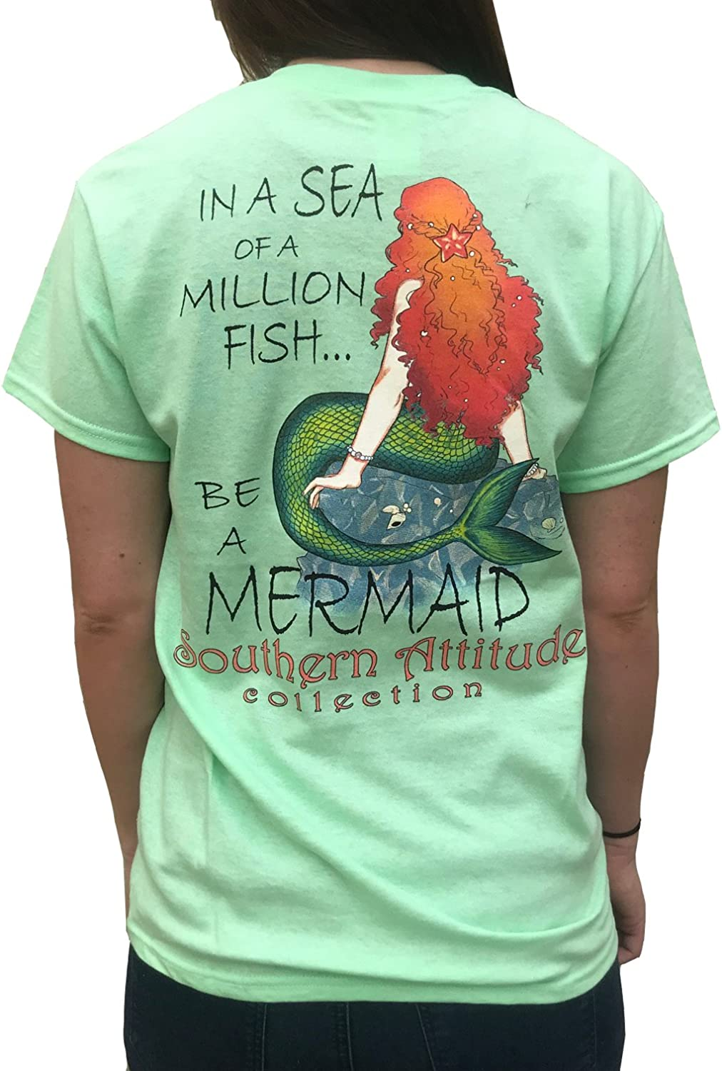 Southern Attitude in A Sea of A Million Fish Be A Mermaid Mint Women's Short Sleeve T-Shirt