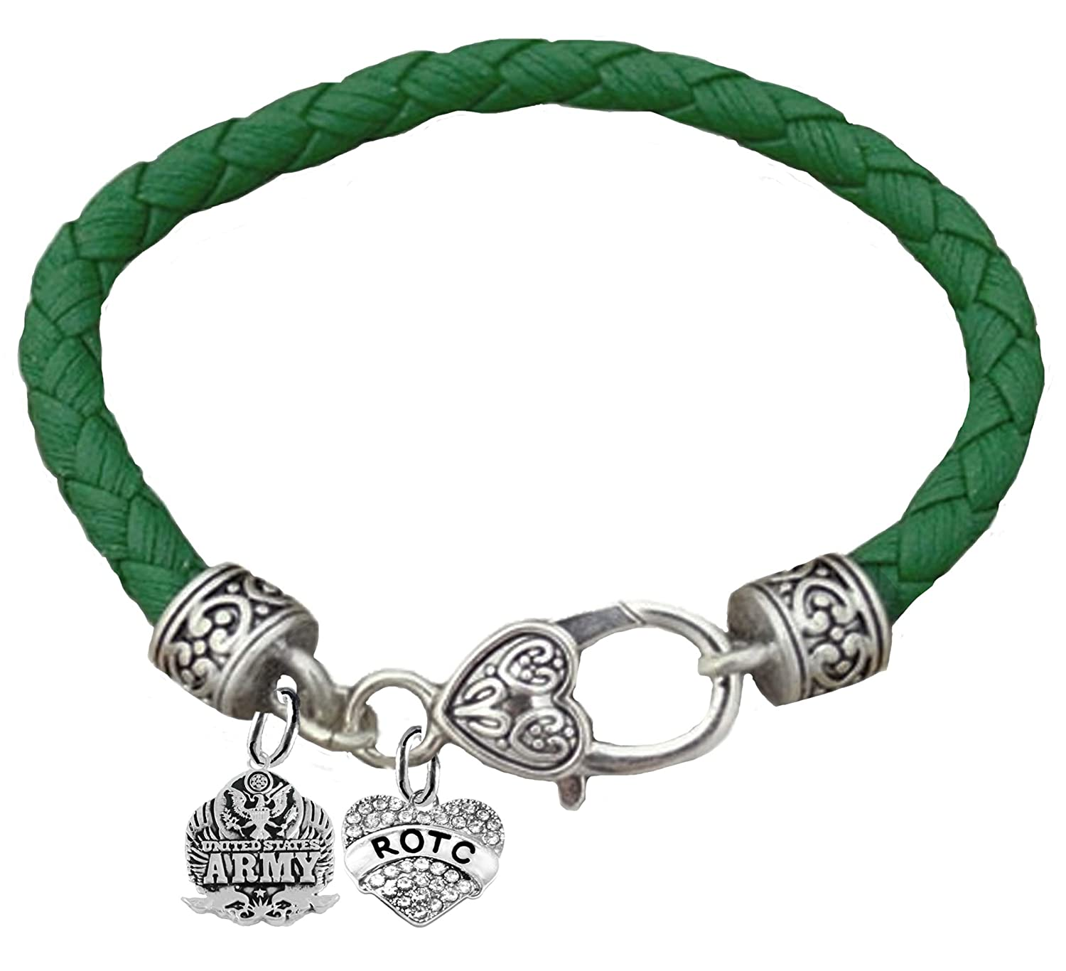 Genuine Army Green Leather Bracelet Hypoallergenic Safe-Nickel Army Seal Cardinali Jewelry ROTC Lead and Cadmium Free
