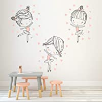 3Pcs/Set Cute Ballet Girls Dancing Vinyl Wall Stickers Funny Cartoon Dancers Wall Decal For Kids Rooms Bedroom Home…
