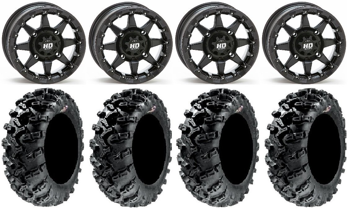 Bundle - 9 Items: STI HD5 14'' Beadlock MB Wheels 30'' Grim Reaper Tires [4x137 Bolt Pattern 10mmx1.25 Lug Kit]