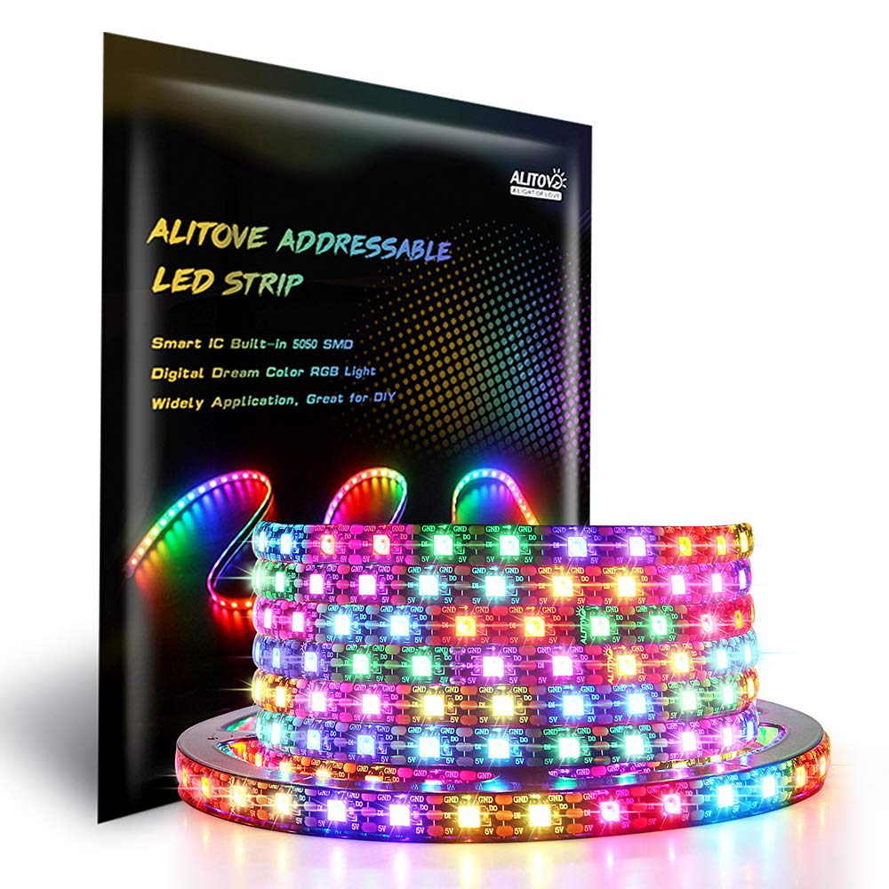 ALITOVE WS2812B Addressable 300 Pixels RGB LED Strip Light 5m/16.4ft Programmable Dream Color Digital LED Flexible Strip Pixel Light Waterproof IP65 5V DC Black PCB for Arduino Raspberry Pi Project