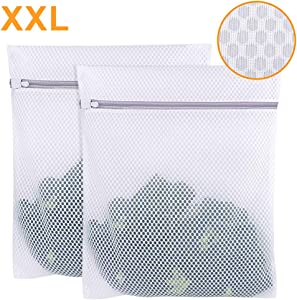 Extra Large Mesh Laundry Bag, 2 Pack Zippered Polyester Delicates Laundry Wash Bag, Washer and Dryer Safe Clothes Laundry Bag for Coat, Sweater, Bed Sheet, Window Screening
