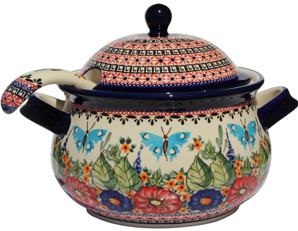 Polish Pottery Soup Tureen with Ladle Zaklady Ceramiczne Boleslawiec 1004/1367-149 Art Signature Pattern, 13.4 Cups