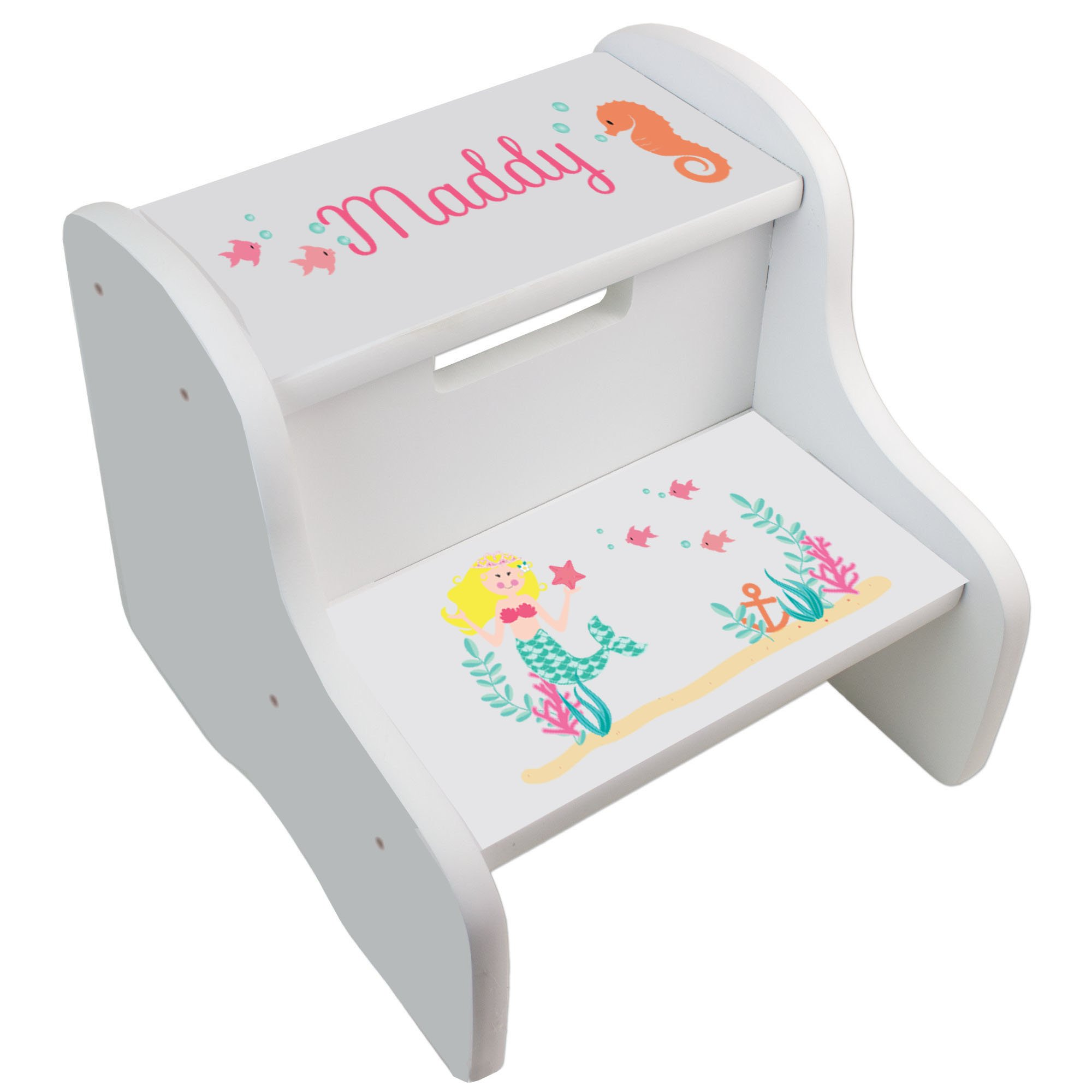 Personalized Blonde Mermaid Princess White Two Step Stool by MyBambino