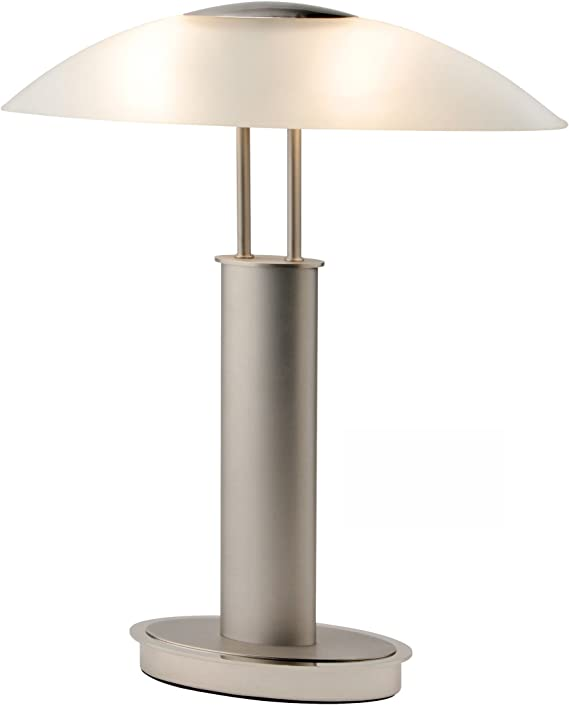 Artiva Usa Avalon 9476tcm Touch Switch Table Lamp Frosted Canoe Glass Shade Satin Nickel And Chrome Finish Home Kitchen