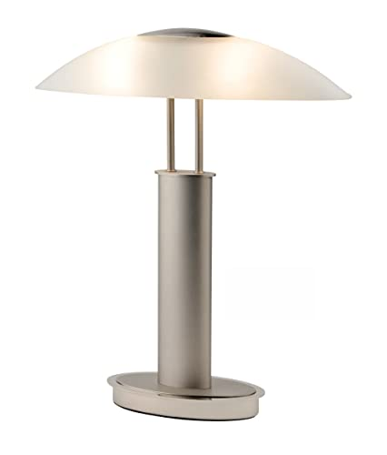 Artiva USA Avalon 9476TCM Touch-switch Table Lamp, Frosted Canoe Glass Shade, Satin Nickel and Chrome Finish
