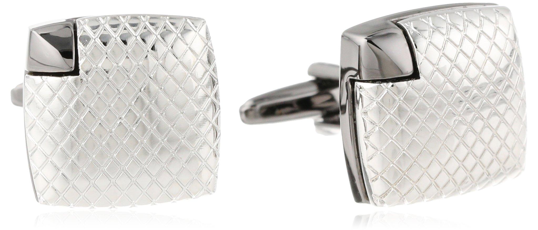 Stacy Adams Men's Cuff Link With Hematite Corner, Silver, One Size