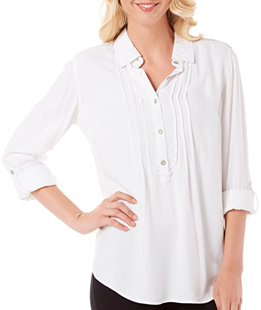 18ecd1304e0859 Vintage America Womens Marissa Pintuck Embroidered Casual Top White ...
