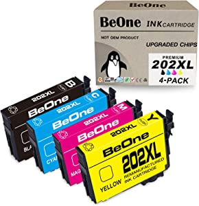 BeOne Remanufactured Ink Cartridge Replacement for Epson 202 XL 202XL T202 T202XL 4-Pack to Use with Workforce WF-2860 WF2860 Expression Home XP-5100 XP5100 Printer (Black Cyan Magenta Yellow)