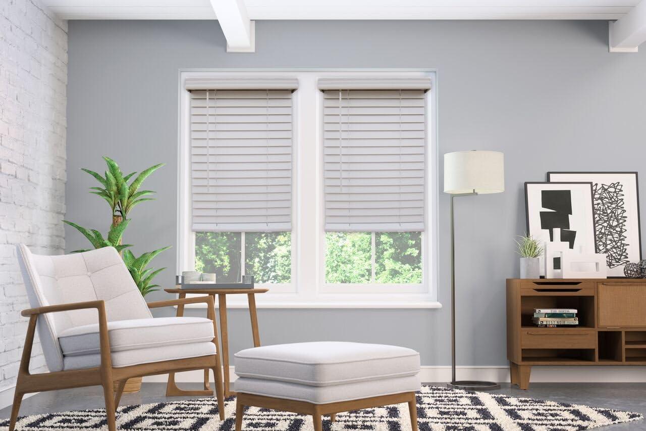 Windowsandgarden Custom Cordless 2 Faux Wood Blinds Any Size 20-72 Wide, 70w x 34h, White