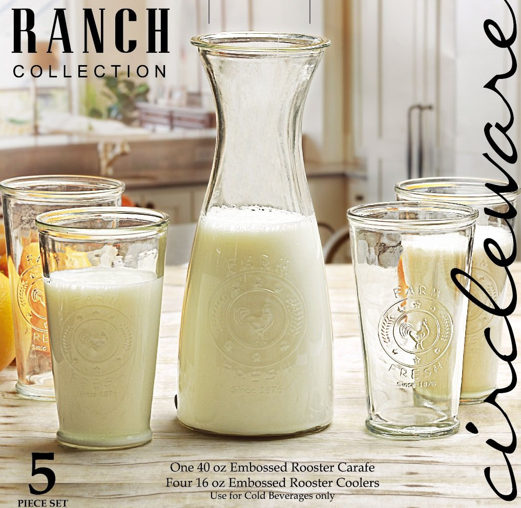 Set of 5 Circleware Ranch Rooster 1-40 ounce Carafe Beverage Water Juice Pitcher 4-16 ounce Glass Milk Drinking Bottles