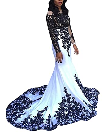 ab9a01db5a1 OYISHA Womens Lace Applique Evening Dress with Long Sleeves Long Mermaid  Wedding Celebrity Gown EV122 Black
