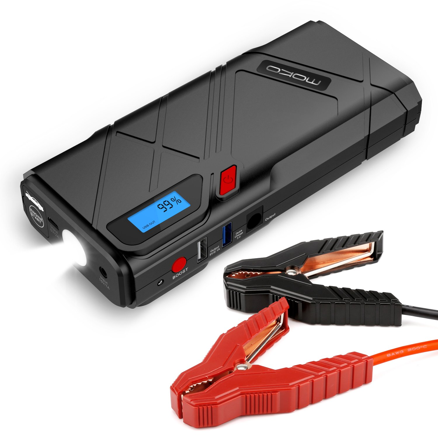 MoKo 1200A Peak Car Jump Starter, 12000mAh Portable Power Bank Battery Booster (Up to 6.5L Gas, 5.2L Diesel Engine), with 2 USB Ports, QC3.0 Fast Charging and Emergency LED Flashlight - Red