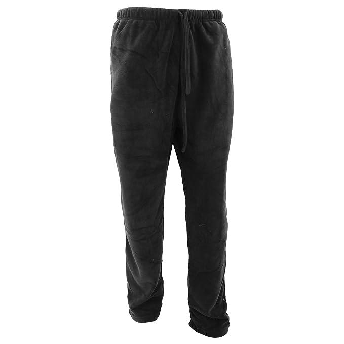 Pantalones de pijama de felpa lisos hombre caballero (Pequeña (S)/Negro)