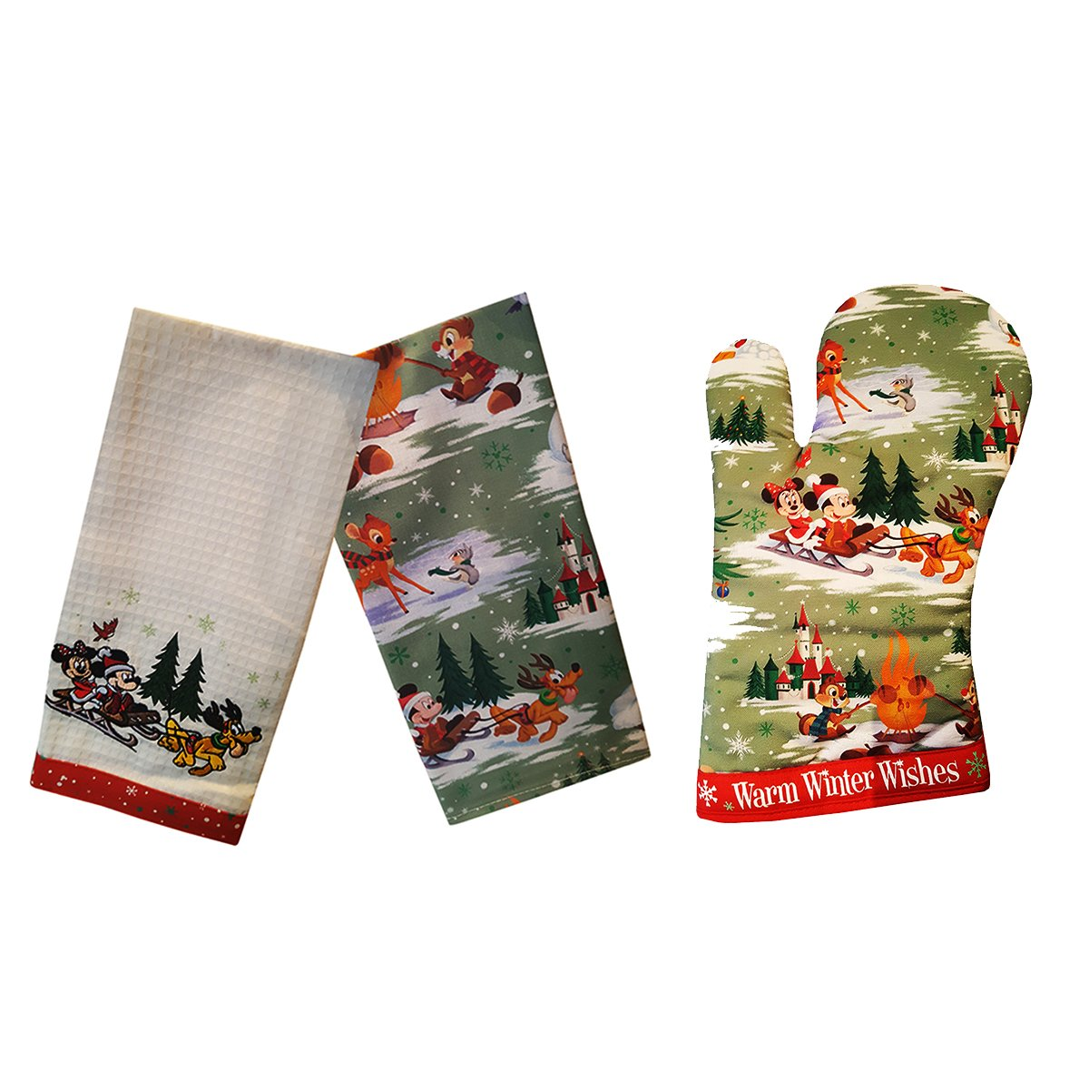 Disney Parks Mickey Mouse and Pals Christmas Holiday Kitchen Oven Set by Disney Parks