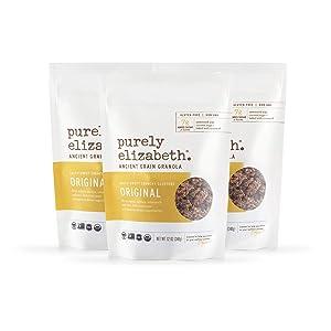 Purely Elizabeth Ancient Grain Granola, Certified Gluten-free, Vegan & Non-GMO | Coconut Sugar | Delicious Healthy Snack | Clean Energy | Original 12oz
