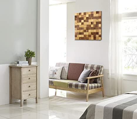 wodewa Wandbild aus Holz Wanddeko 3D Holzbild Mosaik Holzdeko Braun 50x50cm  Holzbilder Moderne Bilder Holz Wanddekoration Wohnzimmer Küche Flur