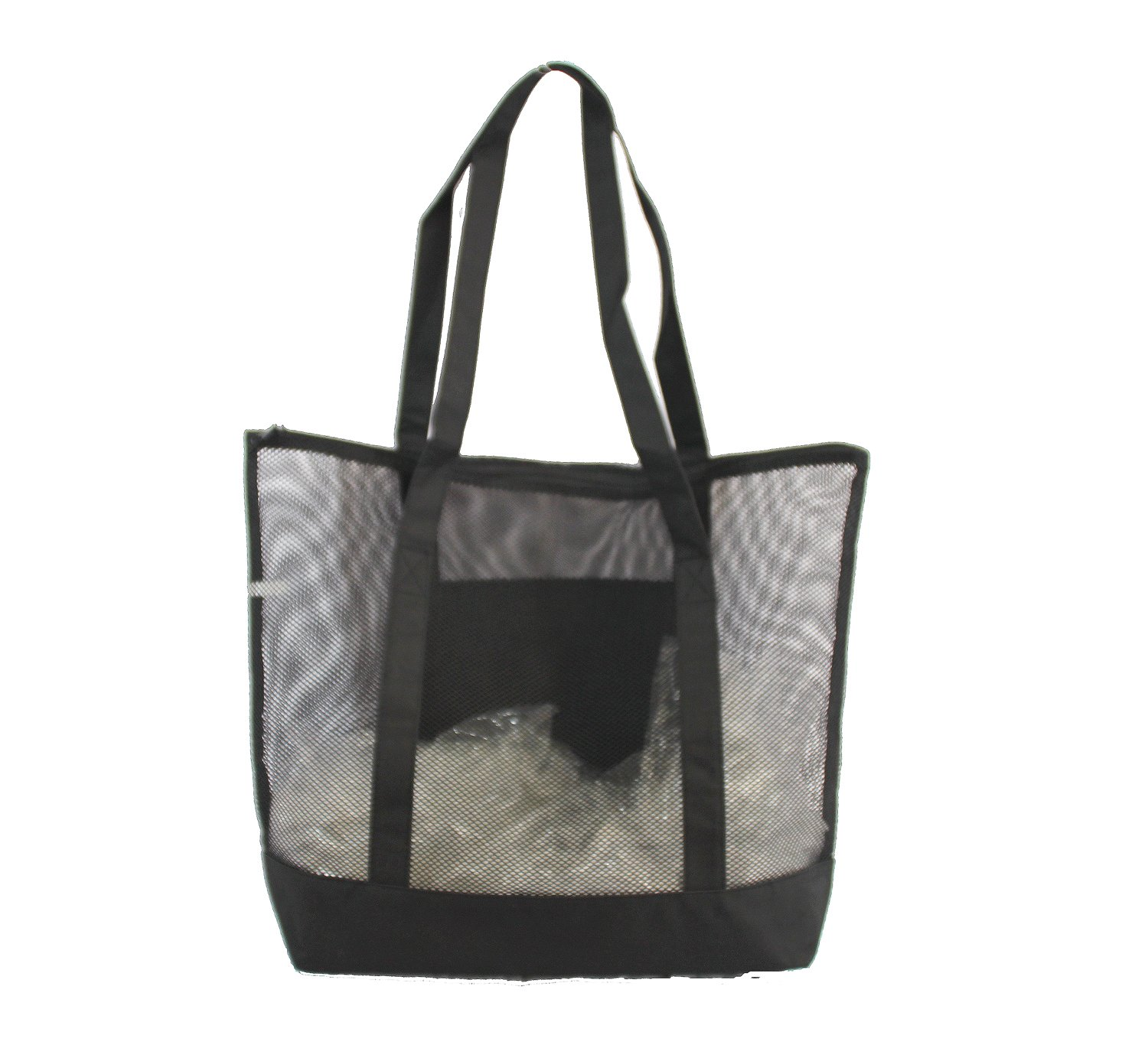 Black 636391901383 Xtitix Deluxe Mesh Beach Tote Bag with Zippered
