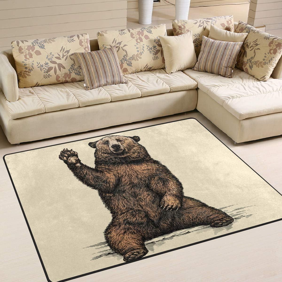 Naanle Vintage Non Slip Area Rug for Living Dinning Room Bedroom Kitchen Animal Bear Nursery Rug Floor Carpet Yoga Mat 1.7 x 2.6 ft 50 x 80 cm