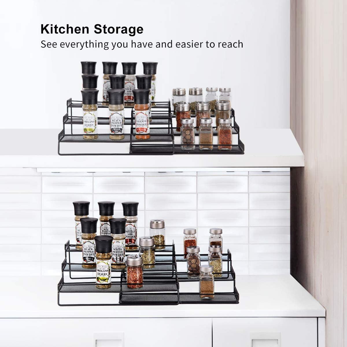 KUNGEAR Expandable 3-Tier Spice Rack Organizer for Cabinet, Black Metal MeshStep Shelf with Non-Skid Design Protecting Railing, Ideal for Pantry/Countertop/Bathroom, Black: Home Improvement