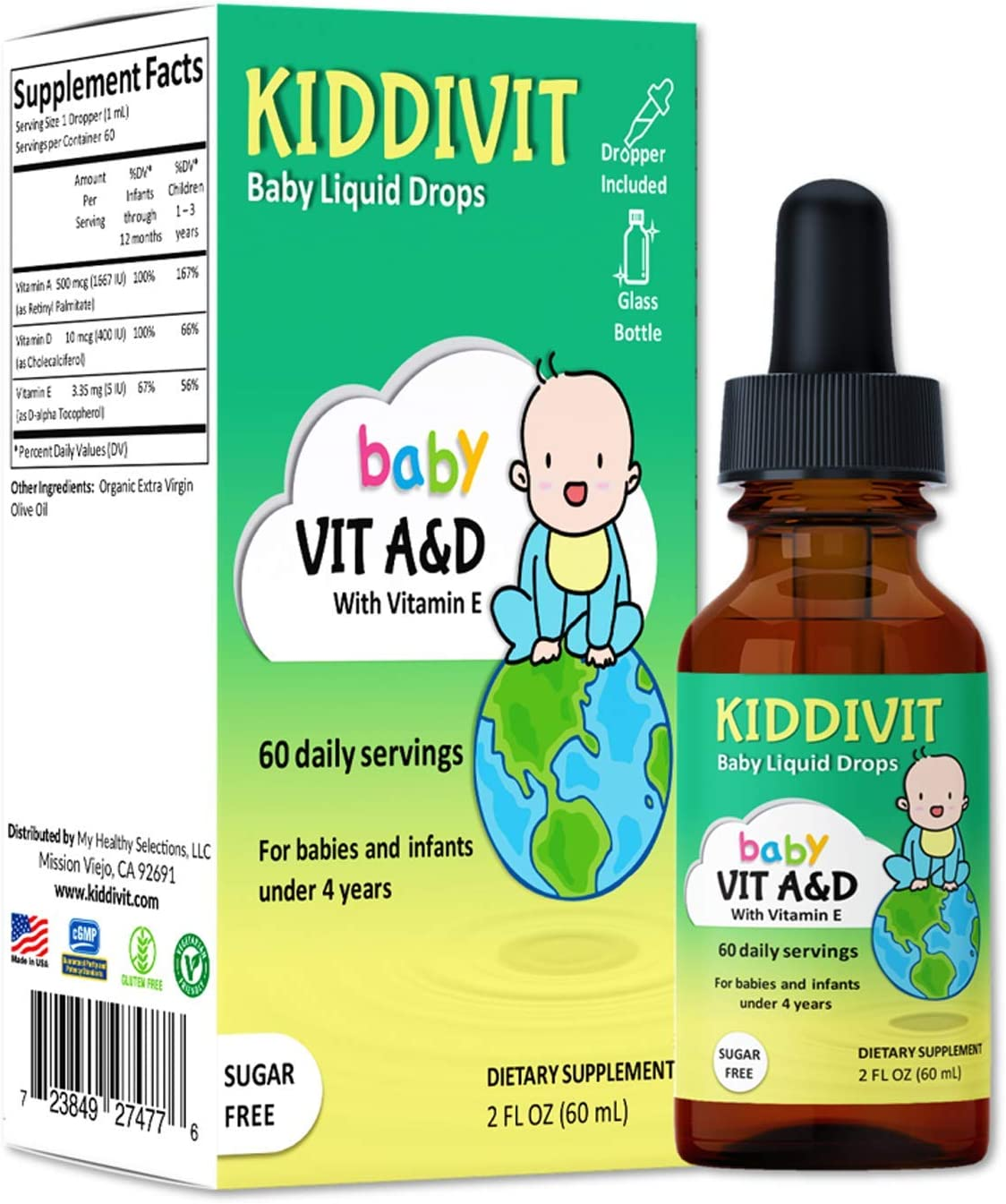 Kiddivit Baby Vitamin A&D Liquid Drops with Vitamin E - 60 Daily Servings, 2 Fl Oz (60 mL) - Dropper Included, Glass Bottle - Sugar Free, Gluten Free, Vegetarian Friendly