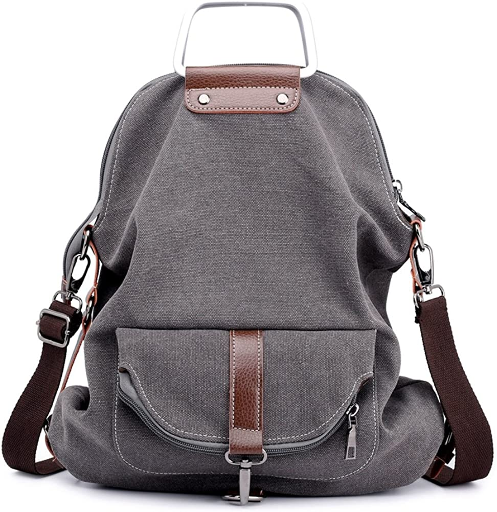 Vintage Canvas Backpack For Women School College Travel Laptop Portable Rucksack