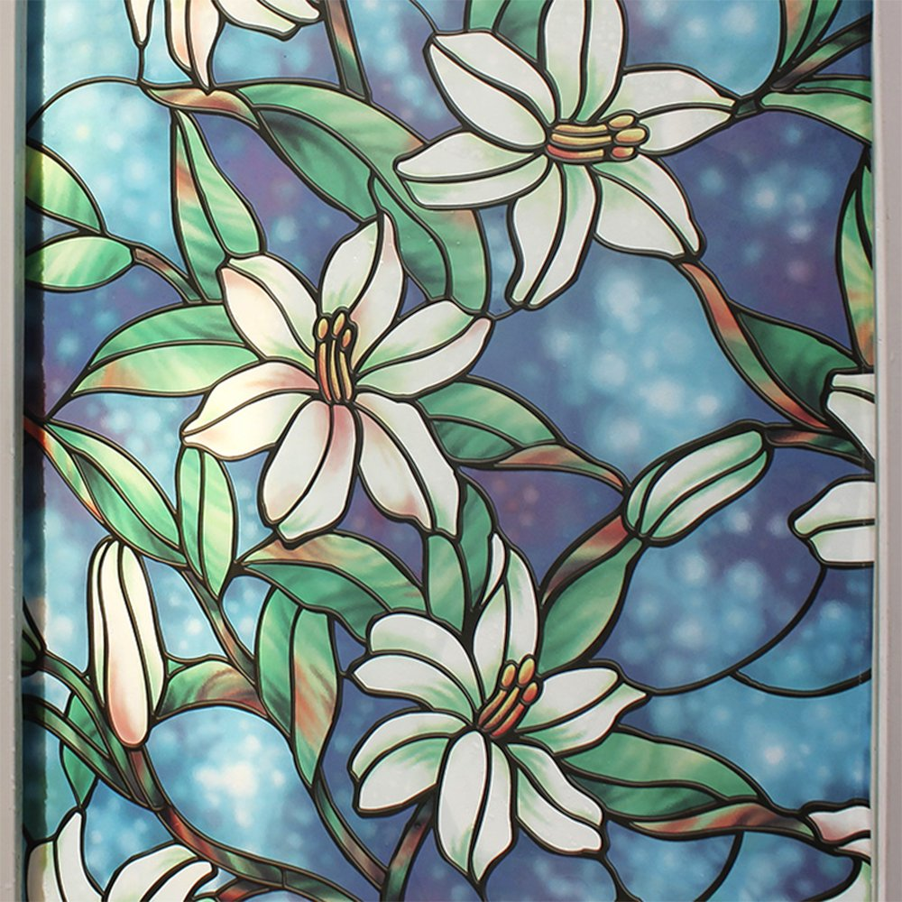 BDF 1CGB Floral Stained Glass Static Cling Window Film Non Adhesive Kitchen Home (36 in x 84 in)