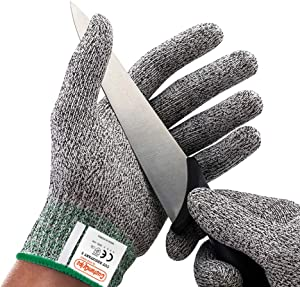 CustomGrips Cut Resistant Gloves, Level 5, Highest Grade Protection Safety Gloves, Food Grade, High Performance for Meat Cutting, Oyster Shucking and Kitchen Work [Medium, 2 Pairs]