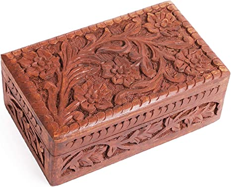 Jewelry Keepsake Box Hand Carved Wood Wooden Brass Inlay BUDDHA